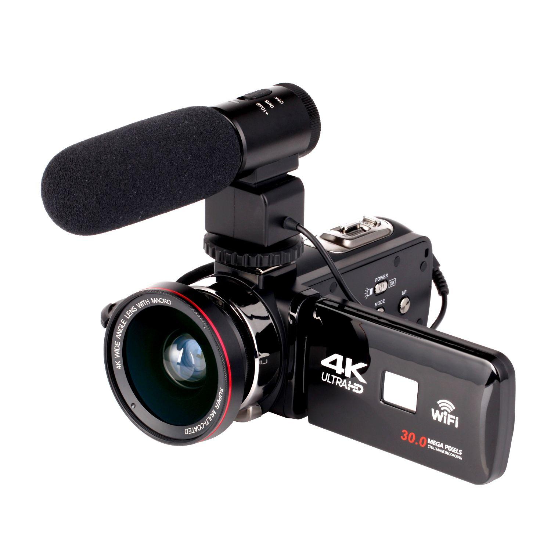 2019 WIFI 4K Camcorder 16X zoom 3.0 HD شاشة تعمل باللمس 24 ميجا بكسل مع كاميرا فيديو رقمية تعمل بالأشعة تحت الحمراء IR