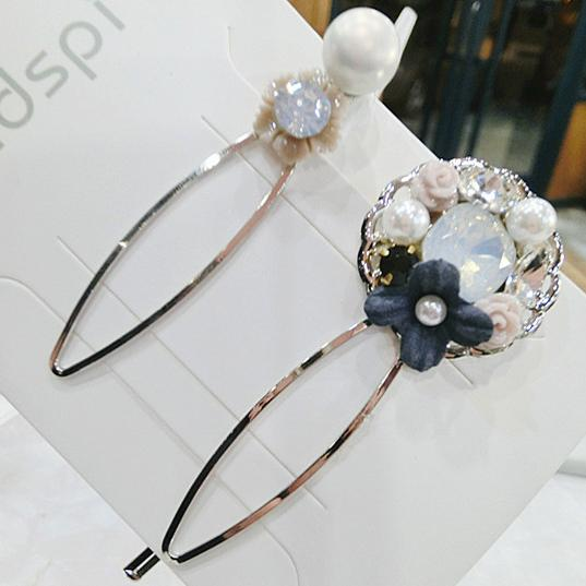 Korean version Xiao Qing new rough linen flower hairpin, side clip Liu Hai clip necklace wholesale and retail
