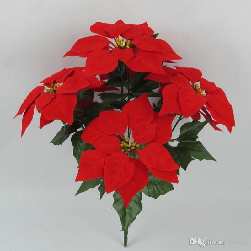 Nueva llegada Poinsettia plástico seda de la flor artificial de Navidad Hoja Ramo Plantas caída del otoño de la decoración del banquete de boda Hojas rojas Coronas