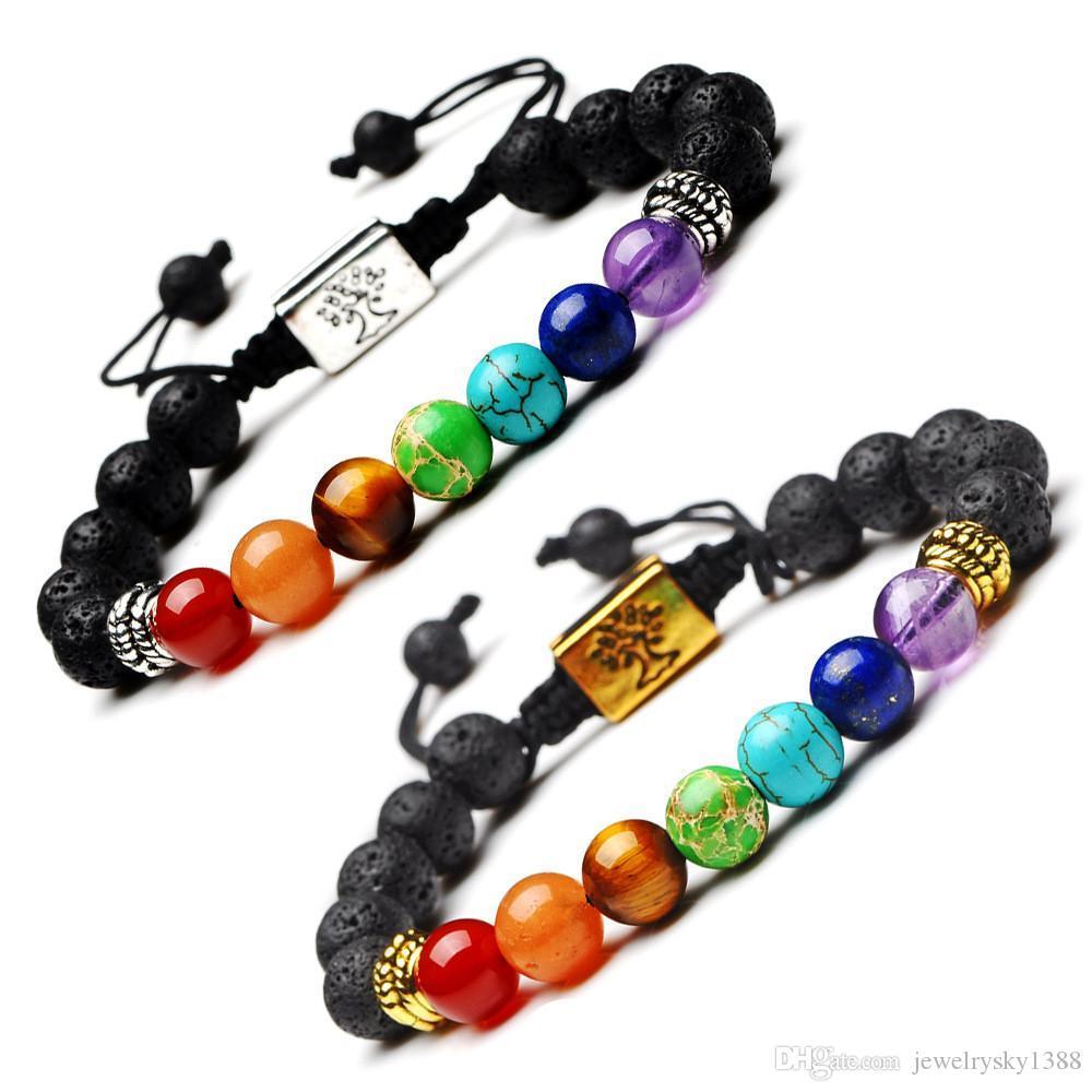 Yoga Handmade 7 Chakra Tree Of Life Charm Bracelets Lava Stones Beads Rope Black volcanic stone Bracelet Women Men Bracelets
