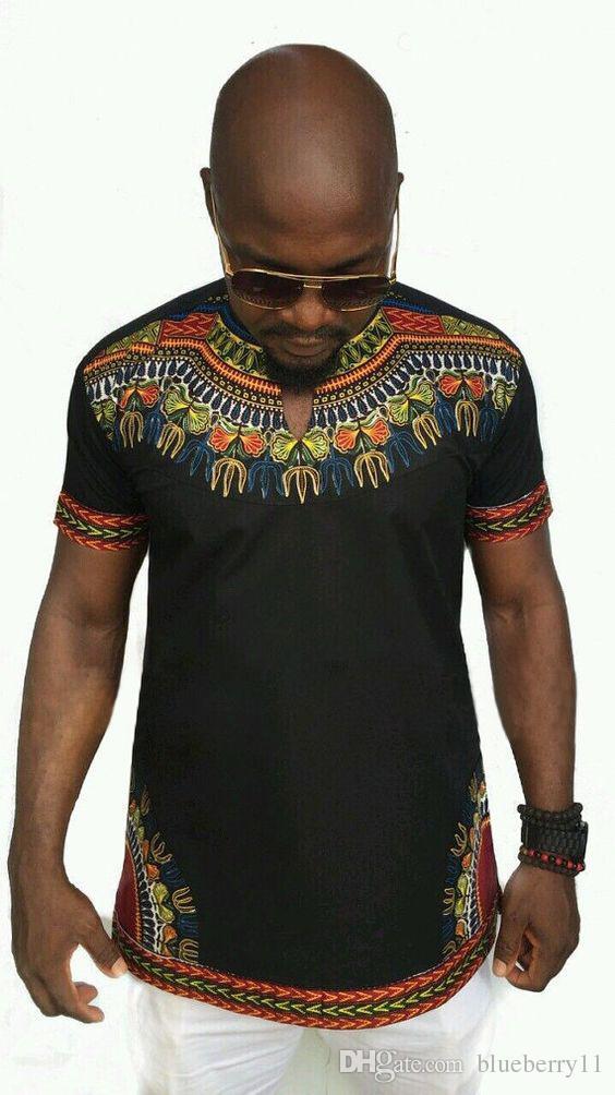 Mode Sommer Floral Gedruckt Afrika O Neck T-shirt Männer Casual Kurzarm Shirt Top Tees Größe S-2XL