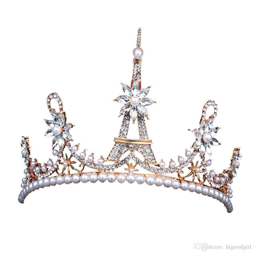 Горячие Продажи Европейский Свадебные Головные Уборы Тиара Корона Jewel Пизанская Башня Корона Жемчужина Волос Ювелирные Изделия Свадебные Аксессуары