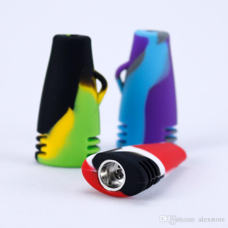 Portable Mini Hookah Silicone Water Pipes for Dry Herb Unbreakable Percolator Bong Smoking Oil Concentrate Hand Tobacco Pipes 10 Colors