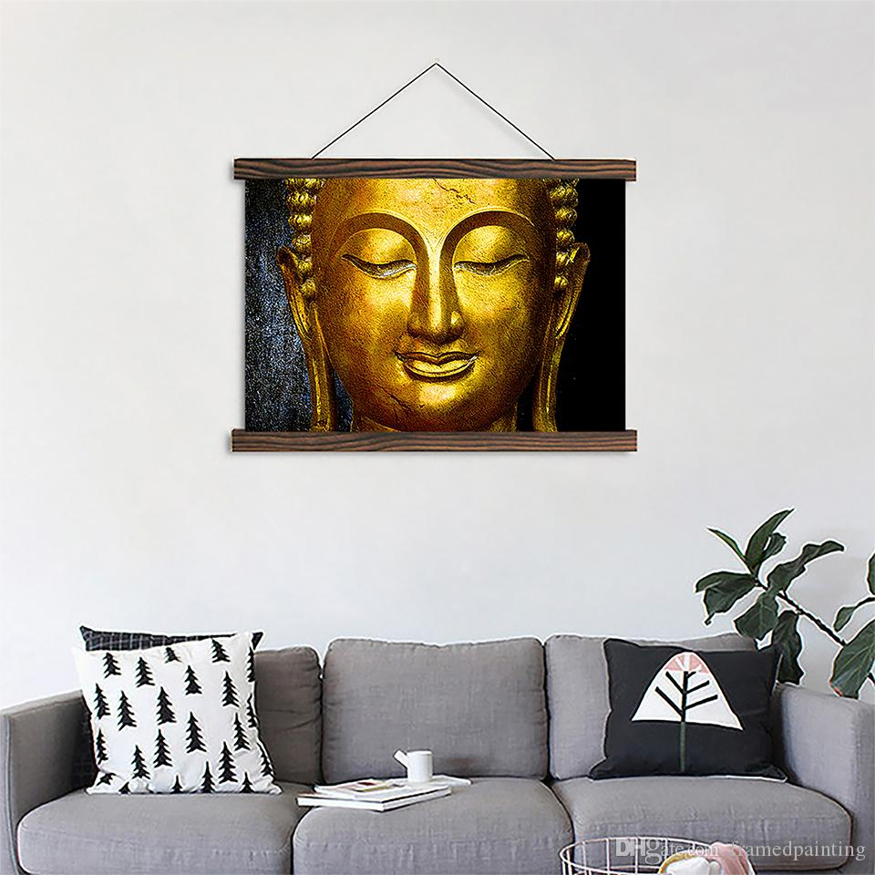 2018 Scroll Canvas Paintings Gold Buddha Posters Hd Prints Wooden ...
