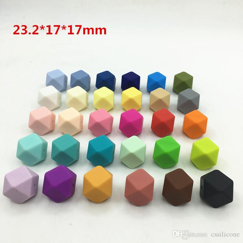 23.2MM Büyük Geometrik Altıgen Silikon Boncuk - 30 Renkler 100pcs Altıgen Gevşek Bireysel Silikon Boncuk DIY Lot