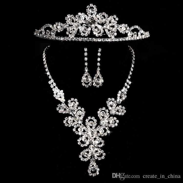 2018 Tiaras gold Tiaras Crowns Wedding Hair Jewelry neceklace,earring Cheap Wholesale Fashion Girls Evening Prom Party Dresses Accessories