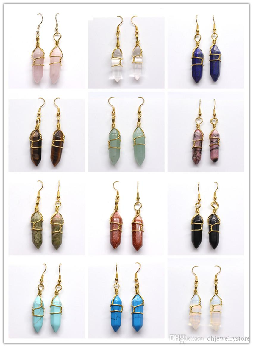 Wholesale 10 Pairs Wire Wrap Hexagong Prism Rose Quartz Opal Stone Earrings Black Agate Fashion Jewelry