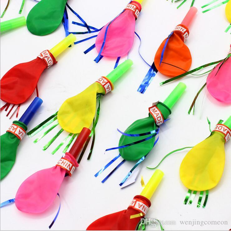 50 pcs/lot whistle balloon Watkins whistles horn called inverted balloon toys birthday party decorations kids supplies