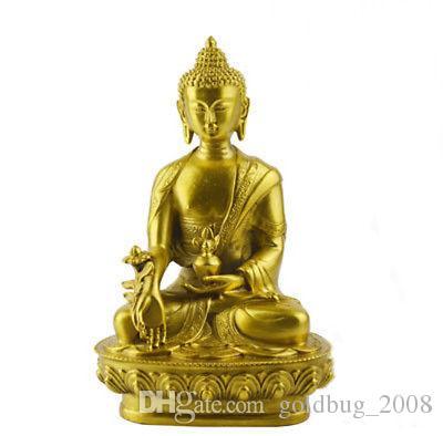 En gros Pas Cher Médecine De Consécration Bouddha Laiton Couleur Résine Statue Bouddhisme Décoration