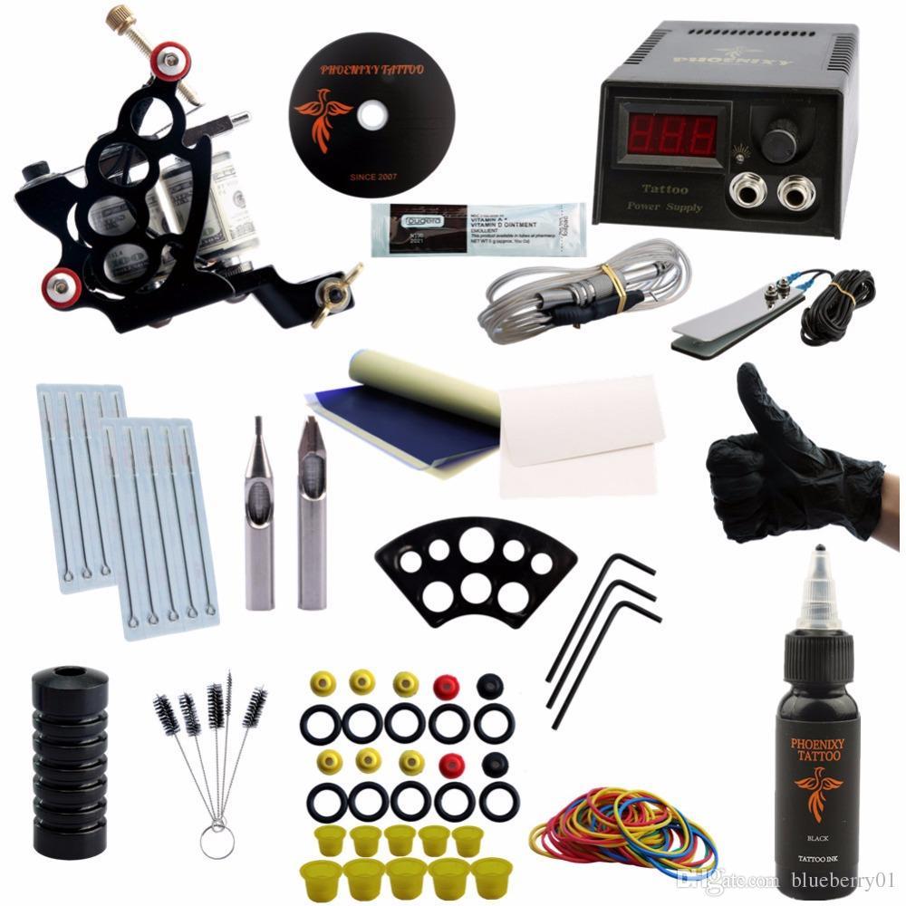 Tattoo Machine Set Kits Black Ink Pigment Sets Power Supply Needles Cheap Beginner Supplies Tattoo For Body Sterilizing Tattoo Equipment Tattoo Artist