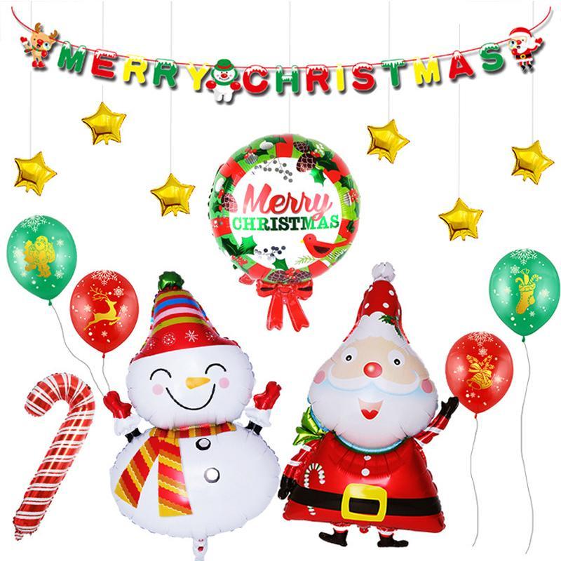17PCS/Set New Year Christmas Balloons Party Decoration Santa Claus Snowman Merry Christmas Letter Foil Balloon Xmas Kids Toy