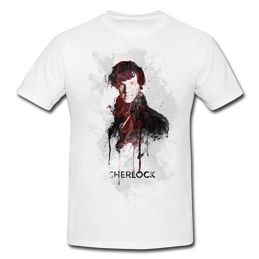 Men T-Shirt weib Sherlock Holmes Kunstfigur Detektiv Paul Sinus Art Geschenkidee Fashion Short Sleeve Sale 100 % Cotton