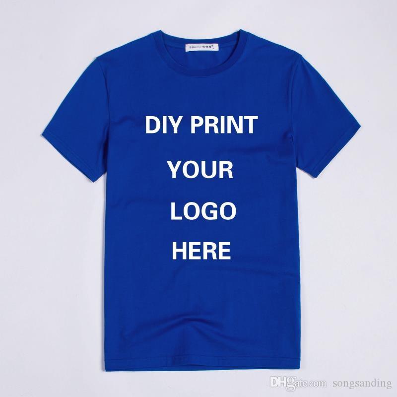 Impressão personalizada logotipo venda quente de alta qualidade em torno do pescoço de manga curta de algodão homem t-shirt uniex tamanho para mulher e homem roupas de verão top
