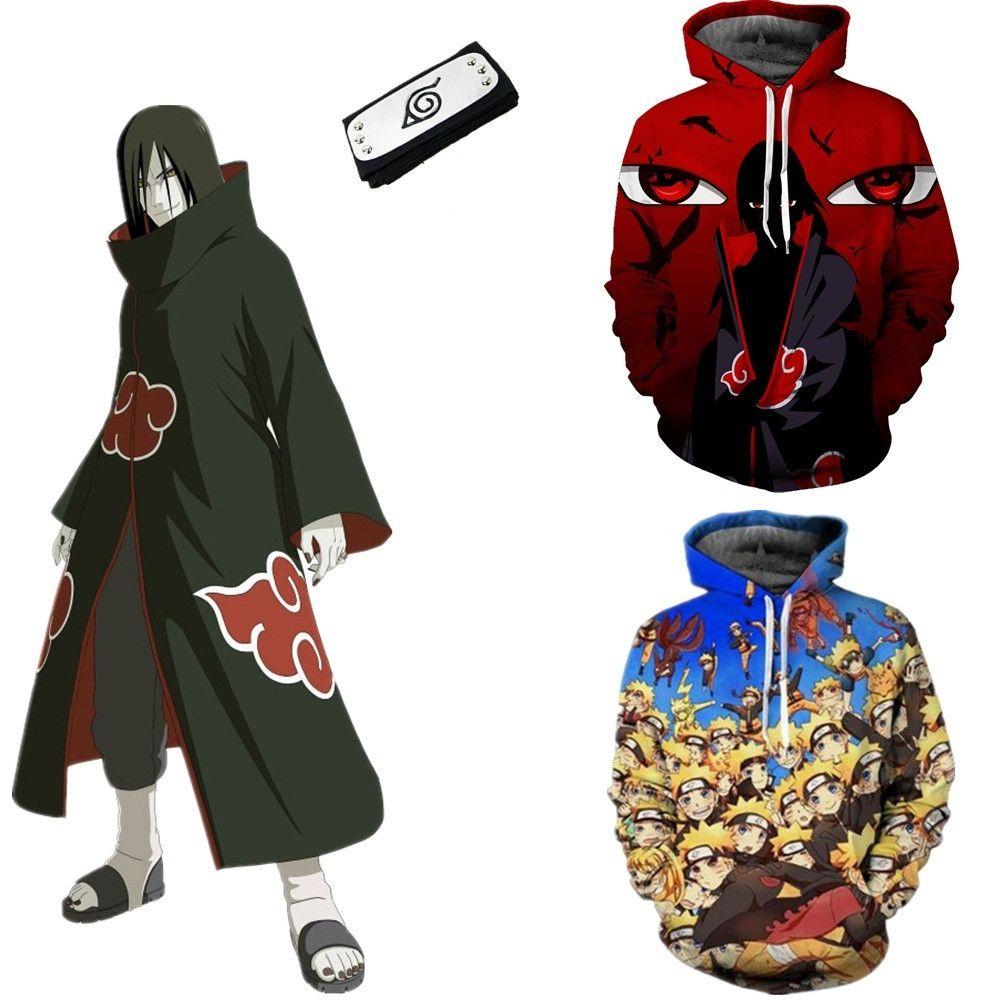 Asya Boyutu Japonya Anime Uzumaki Naruto Hokage Cadılar Bayramı 3D Cosplay Kostüm Uzun Kollu Beyzbol Ceket Hoodie Kafa