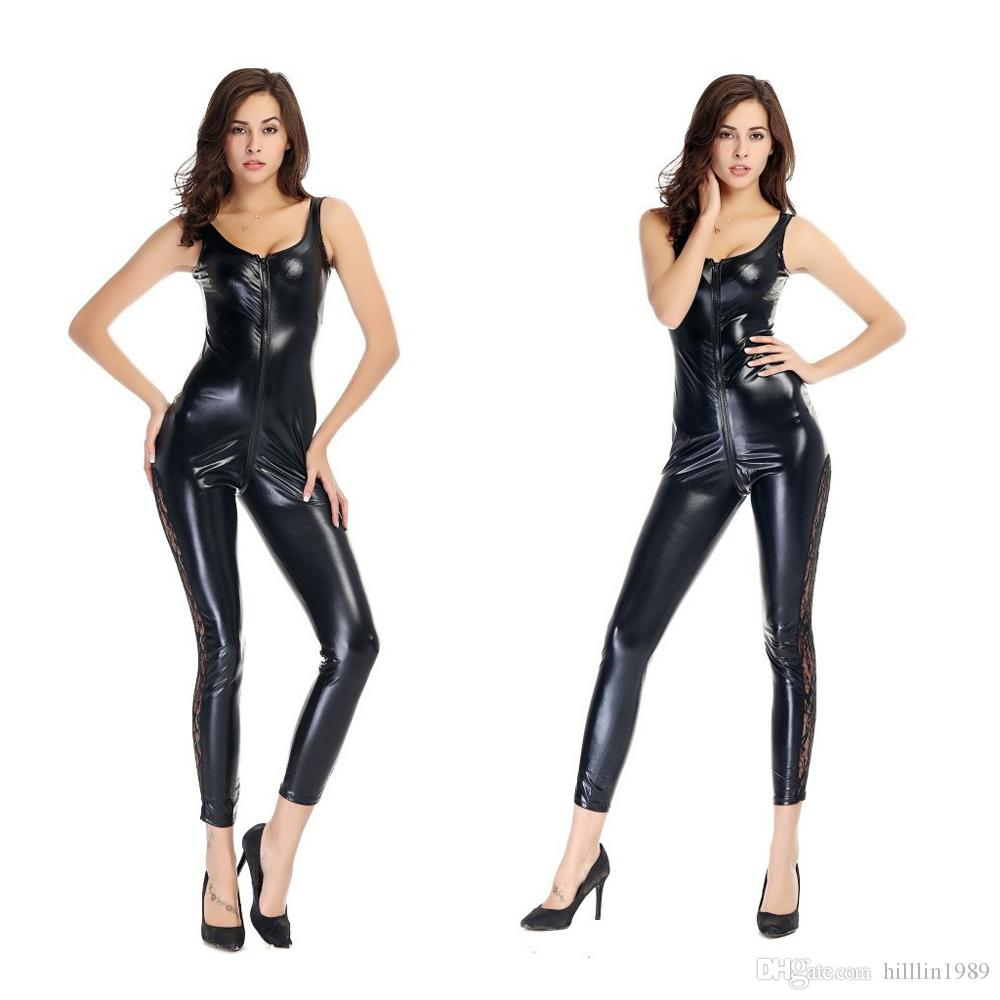 Halloween Catwoman Cosplay Costume 50% Black Patent Leather Jumpsuit Sleeveless Sexy Open Crotch Lingerie Fetish PU Catsuit