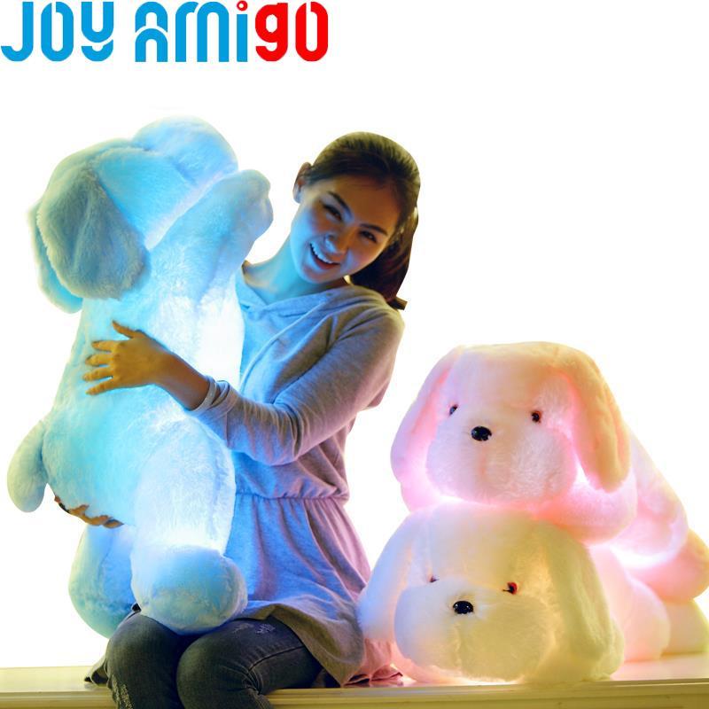 Tall luminoso relleno de luz LED Hasta felpa resplandor de peluche perro de perrito del Auto de 7 colores rotación Iluminado almohada regalo de 50 cm / 20 pulgadas