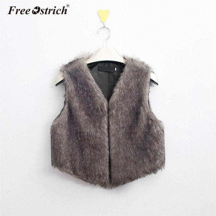 Tongshi Abrigo de Piel sint/ética de Chaleco sin Mangas V-Collar Outwear el Chaleco de la Chaqueta de Las Mujeres