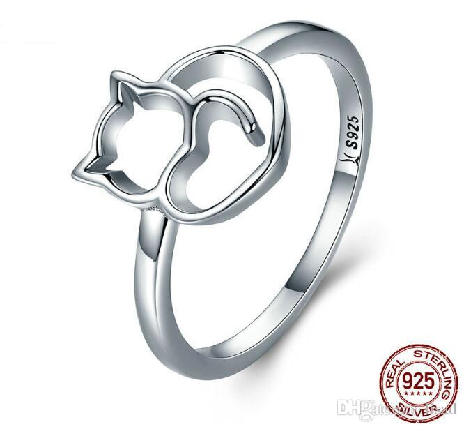 """Anillo de plata esterlina 925 para gatos creativos de Europa, logotipo de """"S925"""" Anillo de joyería DIY para damas en tamaños de 6,7,8,9"""
