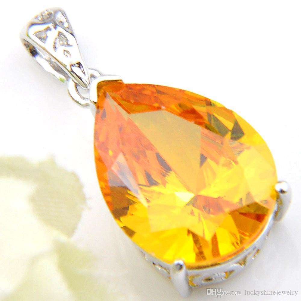 Luckyshine Women Jewelry Classic Yellow Crystal Cubic Zirconia Piedra Gemstone Colgantes Collares para fiesta de boda de vacaciones con cadena
