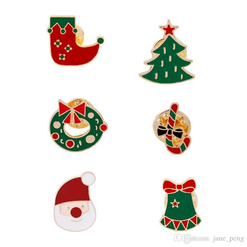 Calcetines para el árbol de navidad Papá Noel Broche para niños Mujeres Hombres Breastpin X'mas Regalo Ropa Accesorios Decoración Insignia Pequeño tamaño Pin de solapa
