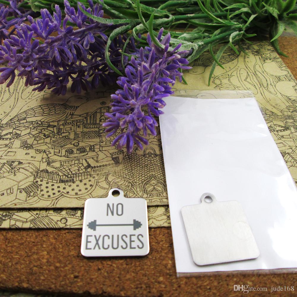 40шт - «нет оправданий» прелесть нержавеющей стали больше стиля для выбора DIY очаровывает подвески для ожерелья