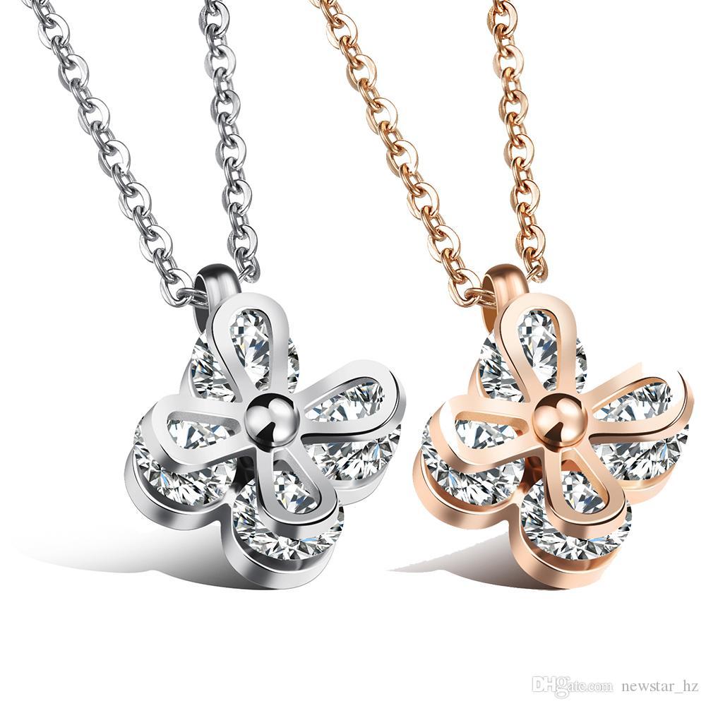 Dames papillon pendentif chaîne collier en acier inoxydable rose déclaration or collier colliers charme pendentifs colliers cadeau pour femme