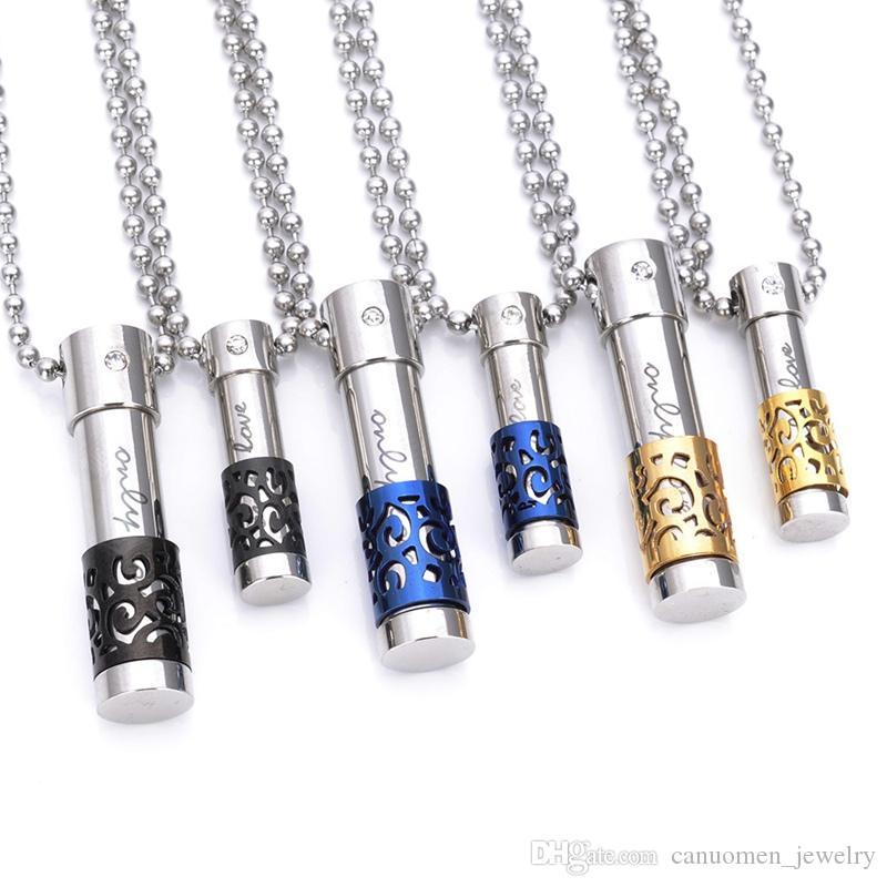 Mode Schmuck Halskette mit Öl Diffusor Glasflasche Anhänger für Damen