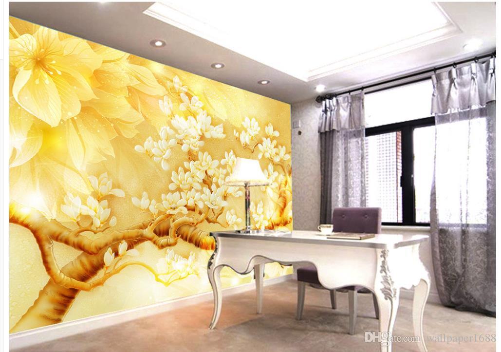 Złoty żółty kwiat Magnolii Rzeźbione ścienne 3d tapety 3d Papiery ścienne dla TV Tło