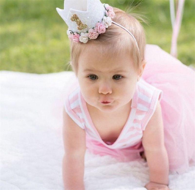 Headwear Flowers Elastic Rainbow Crown Baby Headband Birthday Hat Princess