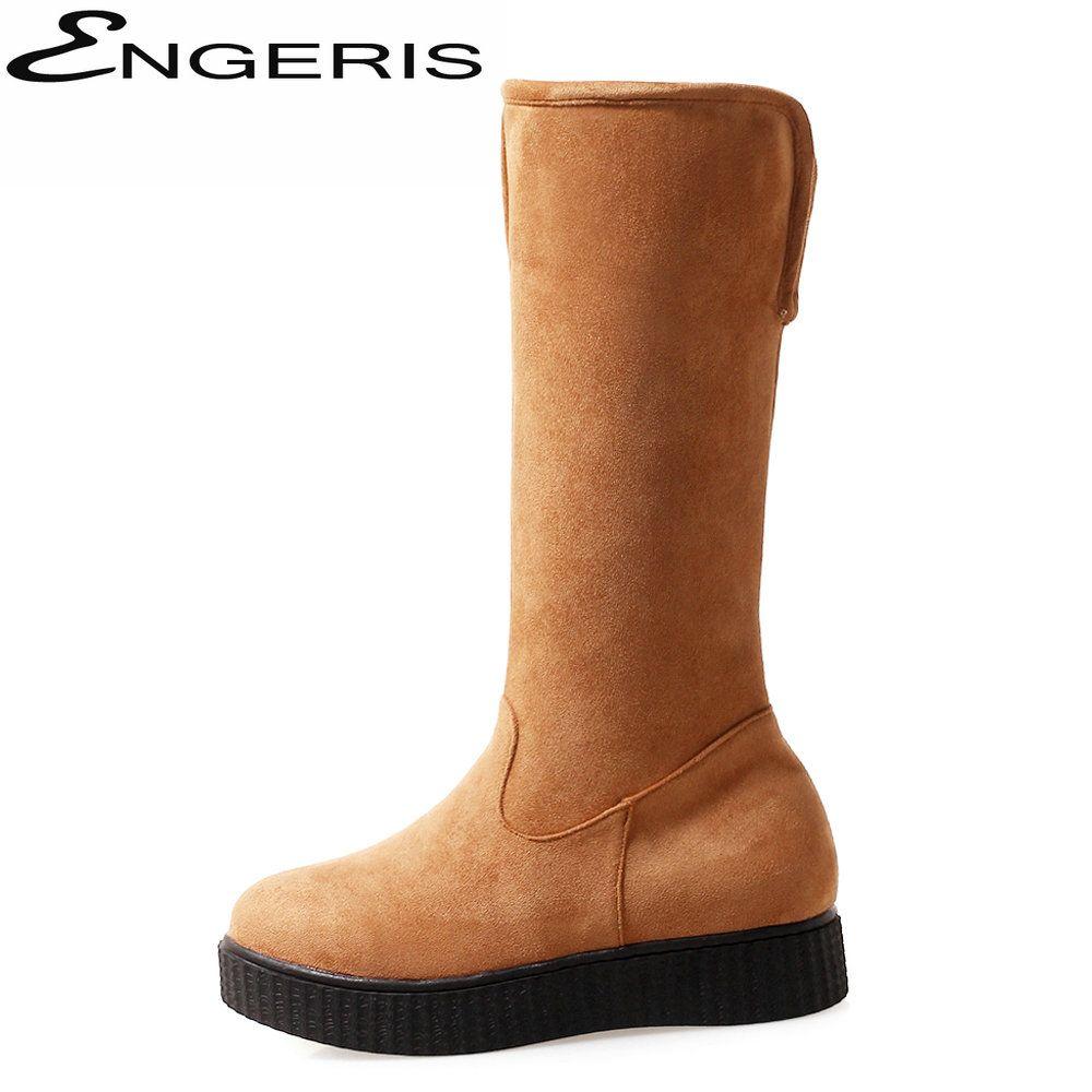 ENGERIS Flock Knee High Boots for Women Thick Heel Flat Heels Thigh High Boots Fur Warm Winter Snow Black Booties