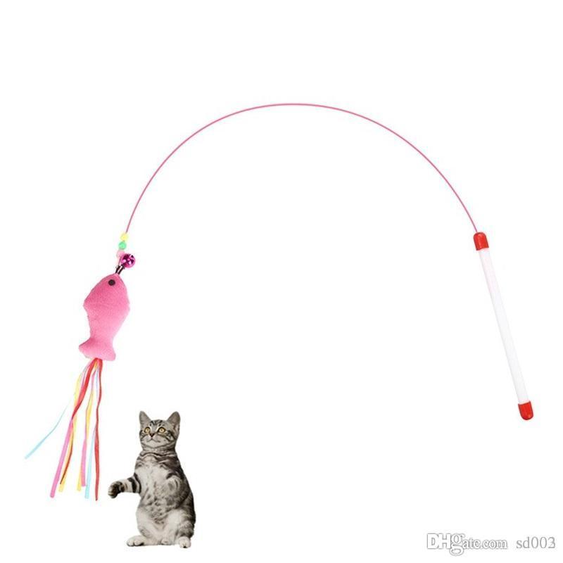 고양이 놀이 밧줄 재미 있은 민트 물고기 유형 강철 와이어 고양이 스틱 작은 벨 플라이 도구와 귀여운 장난감 핫 세일 2 35sz ZZ
