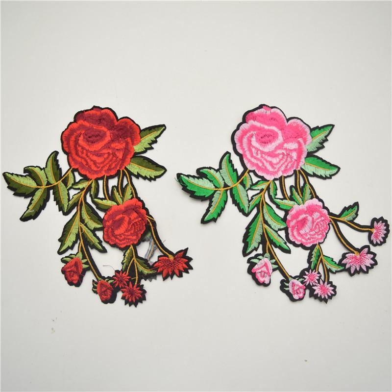 10pcs горячие продажи красный зеленый цветок патч вышитые цветочные патчи железа на / шить на аппликация кружева Venise