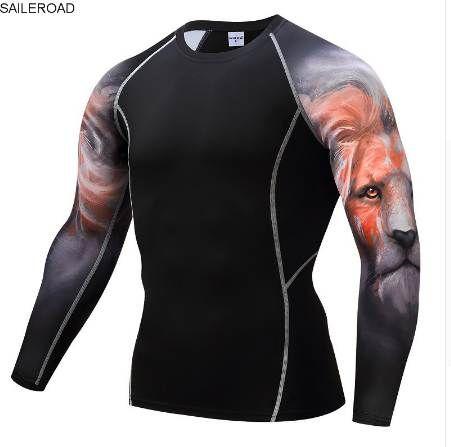 Fitness MMA Compression Shirt Uomo Rashguard T Shirt manica lunga maschile Crossfit Bodybuilding Uomo Skull Stampa 3D T Shirt Top