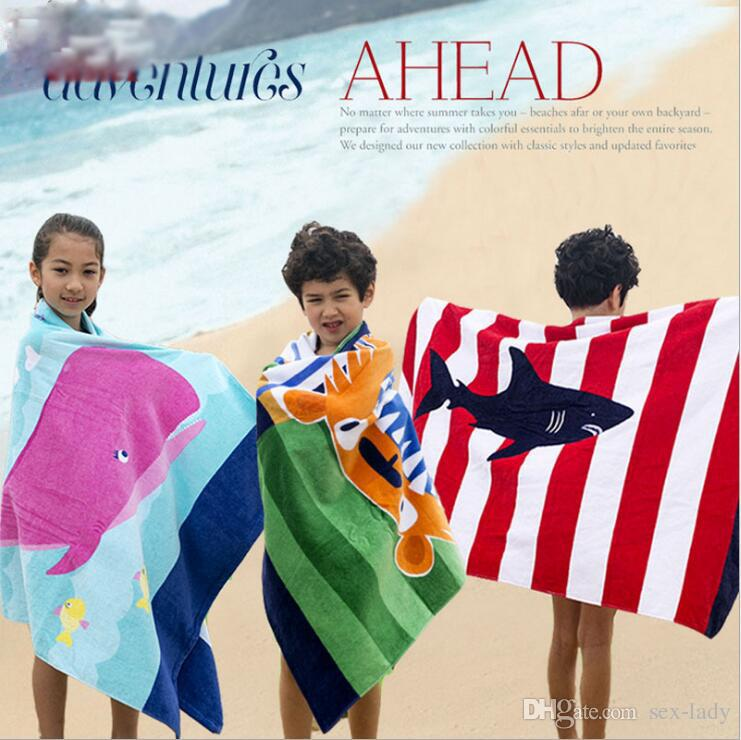 Soft Bath Towel 100% Cotton Cartoon Printed Kids Adult Bath Towel Fast Drying Beach Spa Bathrobes Towel 16 colors 160*80cm