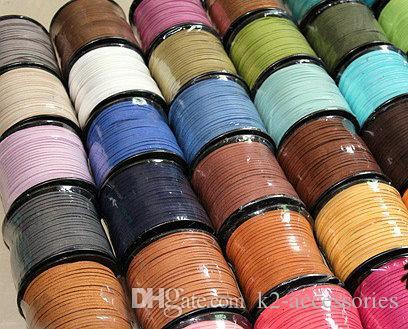 15 couleurs 95m 3mm x 1,5 mm Multicolor plat flat en daim coréen Collier en cuir de velours coréen Cordon de cordes de cordes de corde de corde de corde en dentelle