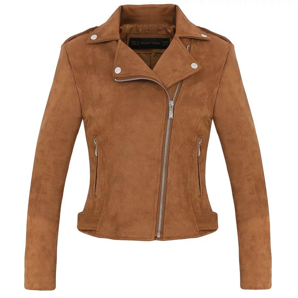 New Fashion Giacca moto da donna scamosciata Slim marrone pieno foderato in morbido ecopelle femminile cappotto veste femme cuir cerniera epaulet