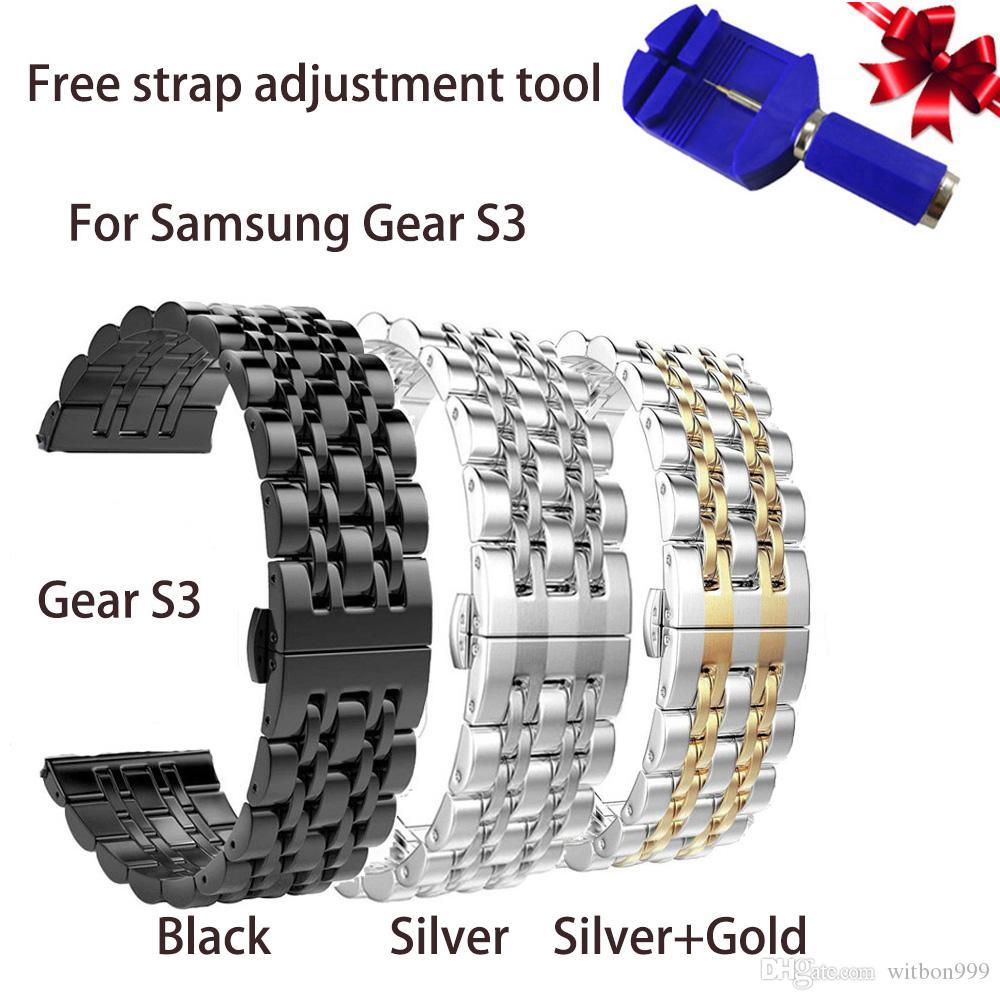 Samsung Gear S3 3/7 beads 밴드 스테인레스 스틸 유니섹스 시계 줄 링크 팔찌 메탈 스트랩 클래식 스포츠 스트랩 무료 배송