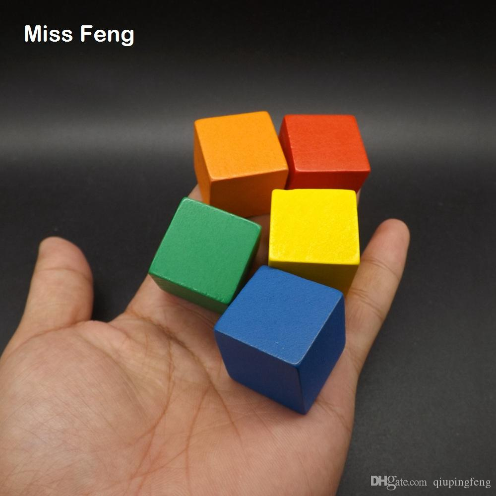 2.5cm Wooden Cube 100 pcs Colorful Tumbling Game Blocks Stack Up Early Head Start Training Toys Kids Gifts
