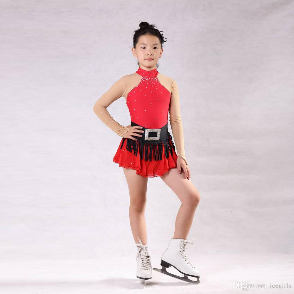 2018 Summer Collection Red Figure Skating Dress With Beads Good Quality Attractive Ice Competition Dress Professional Design