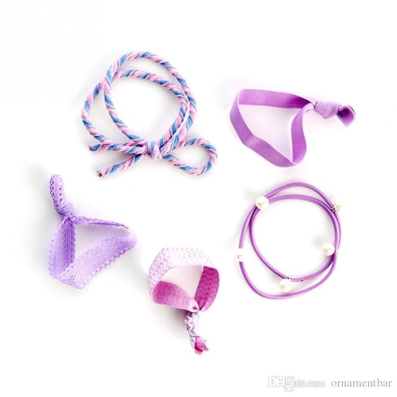 High Quality 5Pcs/Set Summer Girl Print Elastic Hair Band Cute Rubber Band Knot Hair Rope Women Hair Accessories Ponytail Holder