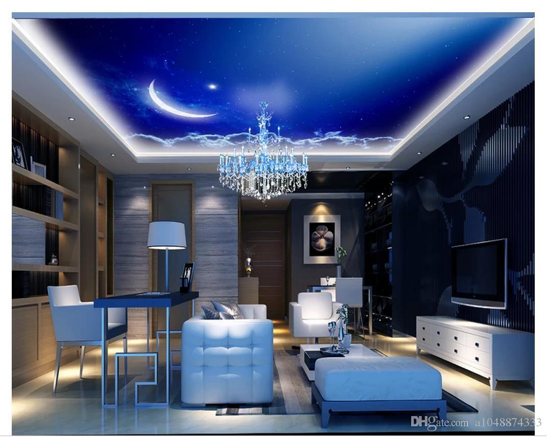 Großhandel 15d Wallpaper Custom Photo 15d Decke Wandbild Tapete Fantasie  Sternenhimmel Blauer Himmel Mond Sterne 15d Wand Wohnzimmer Wandbilder  Tapete
