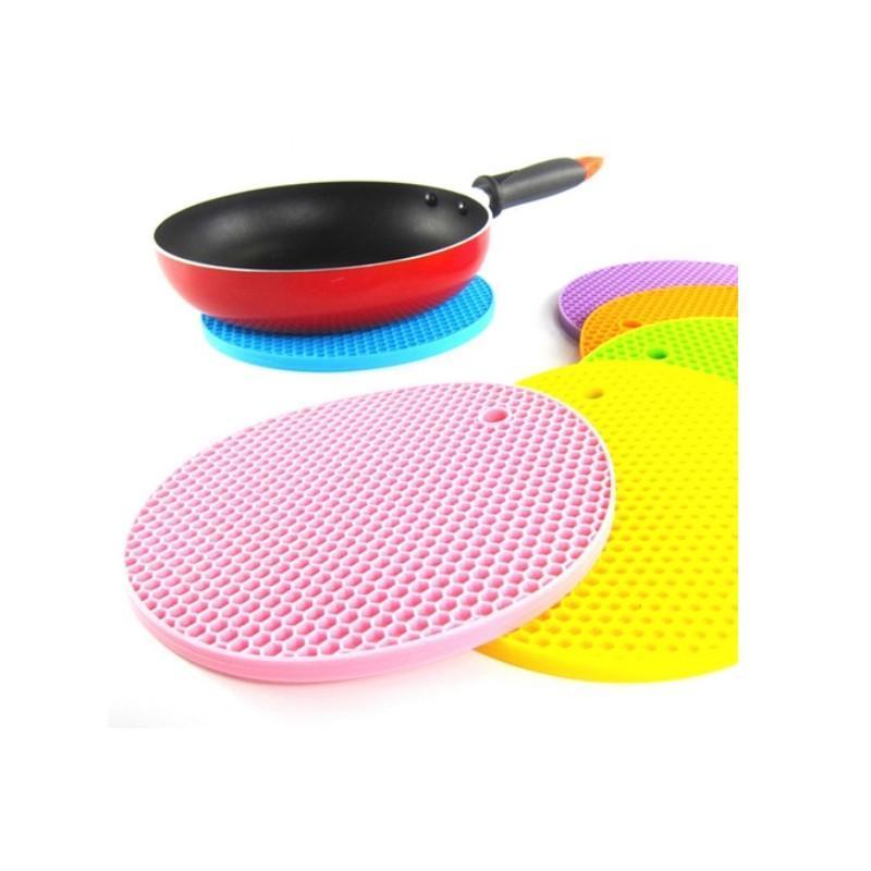 18 cm Yuvarlak Silikon kaymaz Isıya Dayanıklı Mat Coaster Yastık Placemat Pot Tutucu Mutfak Aksesuarları