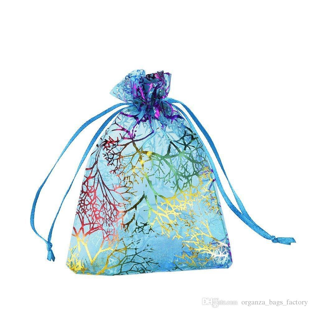 100 Pçs / lote Azul Coral Organza Favor Sacos de cordão 4sizes bolsas de embalagem de jóias de casamento, bom presente de sacos fábrica