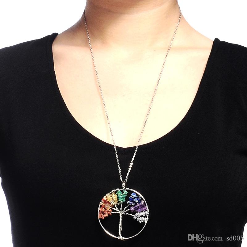 Natural Chakra Crystal Detritus Necklace Seven Colors Tree Of Life Design Pendant For Sweater Decoration Women Favor 5 5cm Z