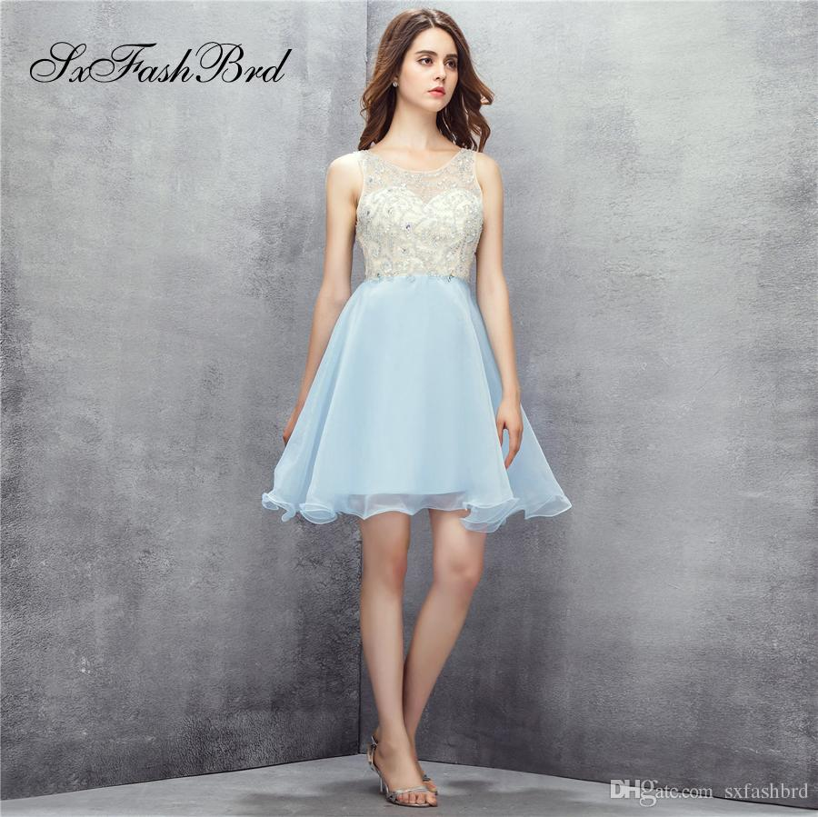 Elegant O Neck With Beading Open Back A Line Mini Short Sky Blue Party Formal Evening Dresses for Women Prom Dress Gowns