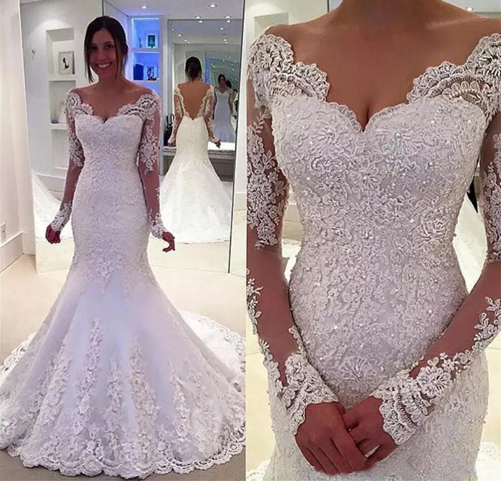 얇은 긴팔 티셔츠 전체 레이스 아플리케 웨딩 드레스 맞춤 제작 열기로 돌아 가기 웨딩 드레스 Vestidos 섹시한 V 목 인어 웨딩 드레스