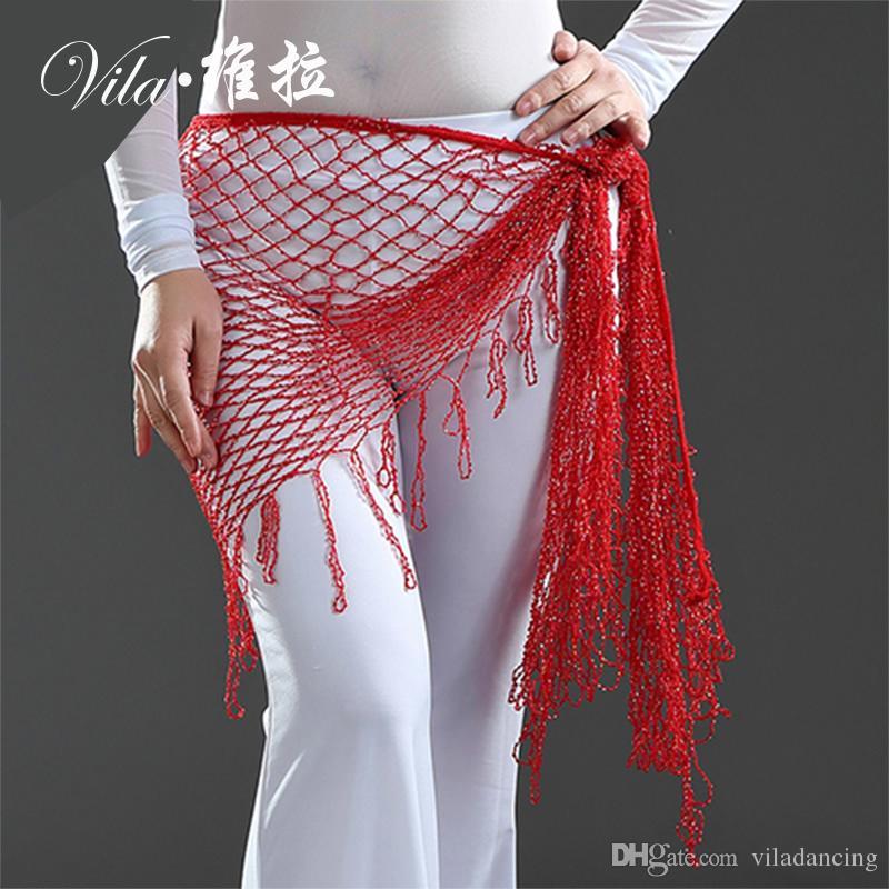 Women Belly Dance Beaded Hip scarf Dancewear Belly Dance Hip Scarf Belt for women 16 colors
