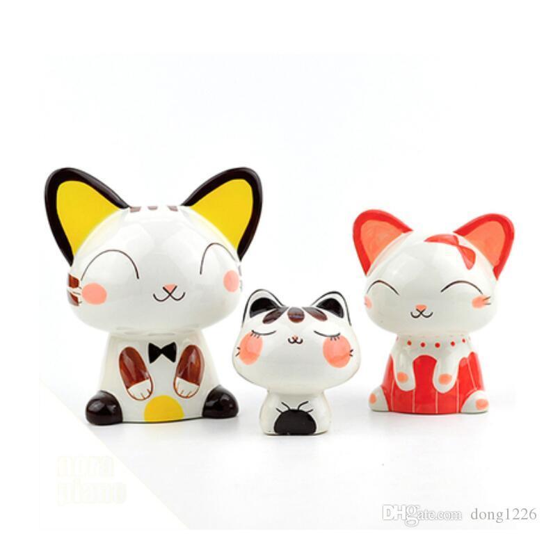 Mignon en céramique maneki neko Tirelire décoration de la maison artisanat chambre décoration porcelaine figurine animal chance chat ornement cadeau de mariage