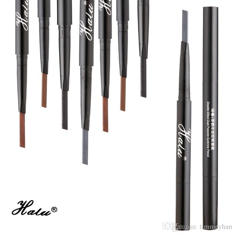 Halu Femmes Étanche Maquillage Sourcil Stylo Hommes Permanent Longlasting Double Fin Crayon À Sourcils Cosmétique Eye Brow Pencil Outils Pochoir