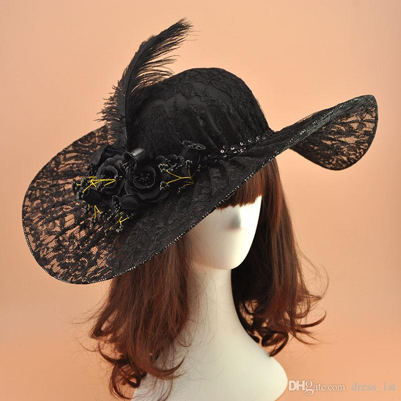 Vintage Black Lace Ladies Church Hats Embellished with Pretty Hand-made Flowers Beads and Feather Adjustable 2018 Bridal Wedding Hats
